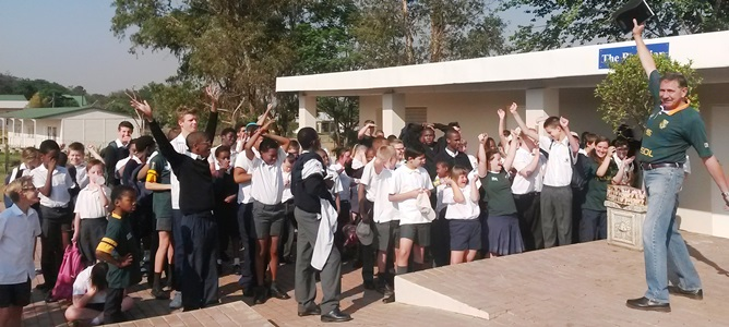 Excited learners at the news of their OWN pool