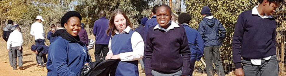 Learners pick up litter