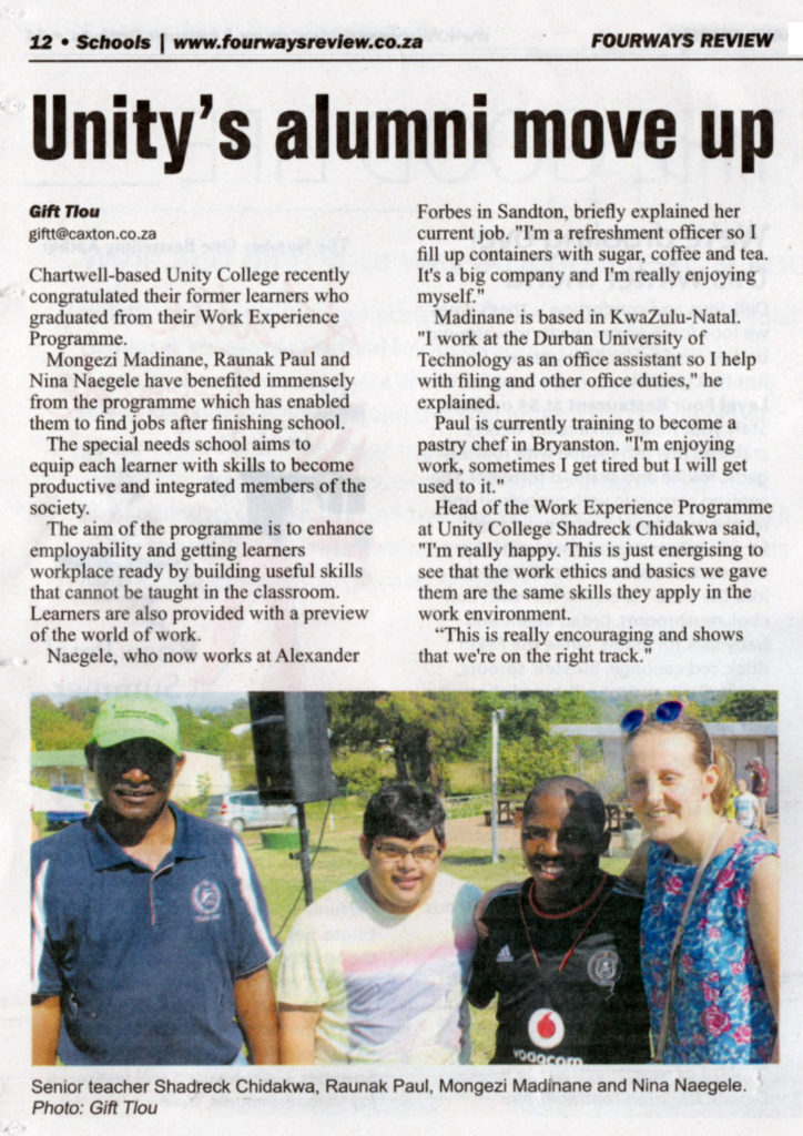 Fourways Review article May 2019 Unity College alumni