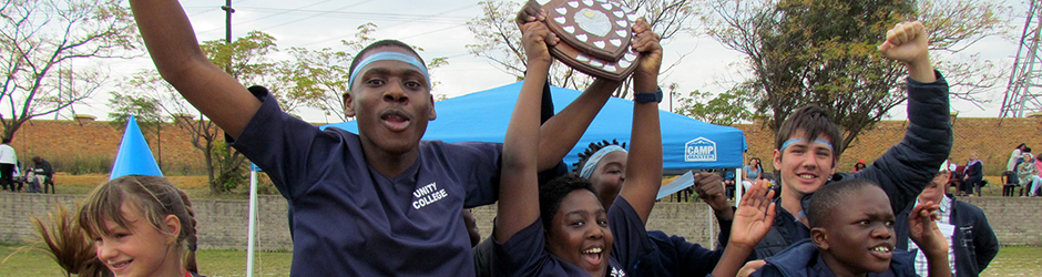 Unity College Blue Cranes celebrating victory