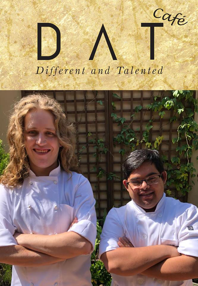 Two special needs adults working as chefs