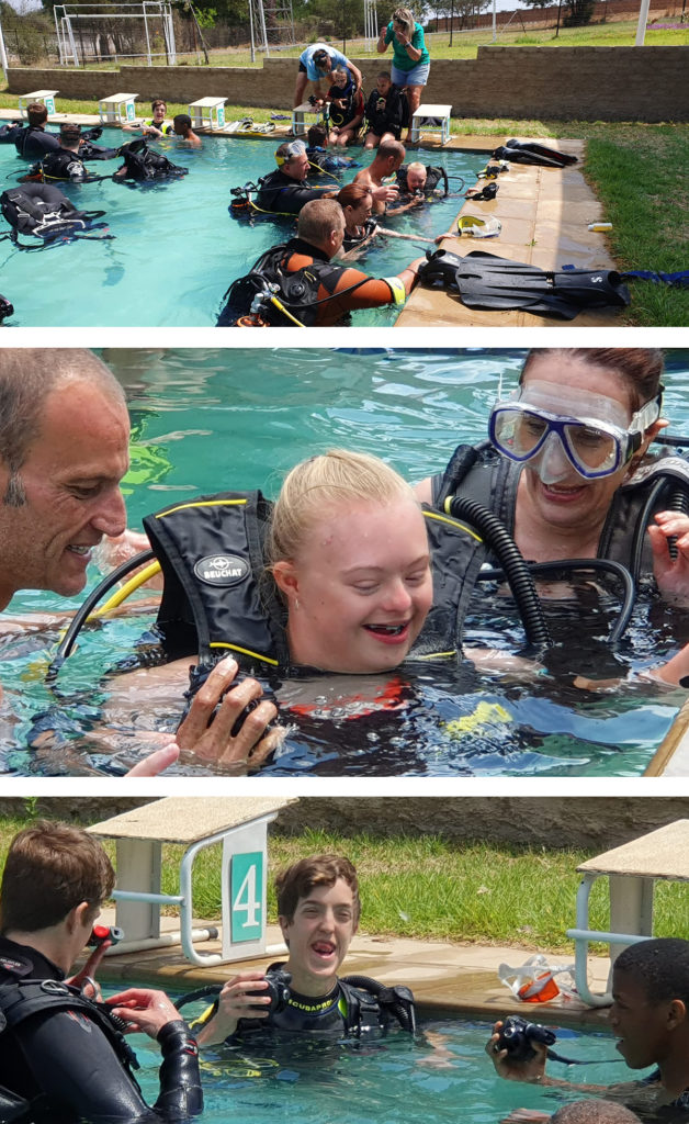 children with special needs trying out scuba