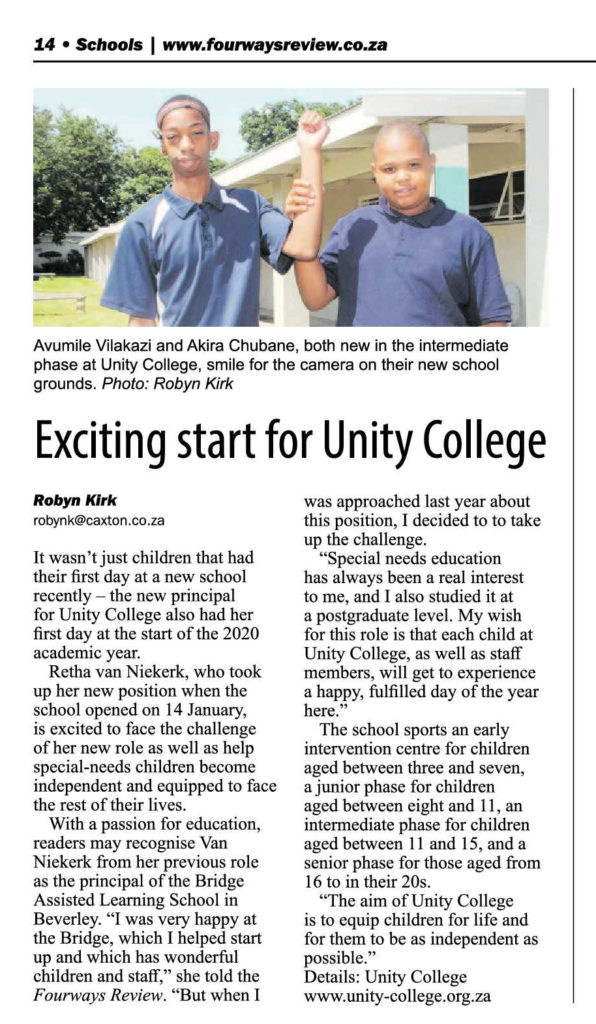 Newspaper article about new pupils and principal at Unity College